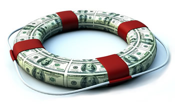 A life preserver covered in dollars